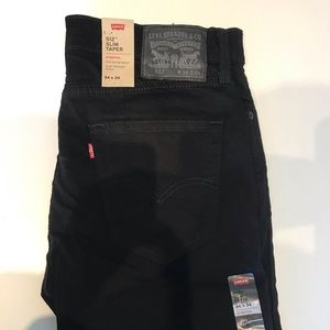 NEW Black Levi's 512 Slim Taper Stretch Denim